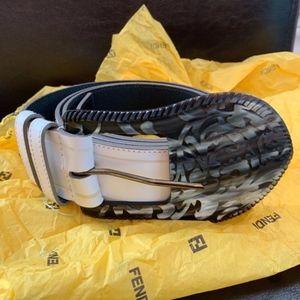 NWOT Fendi White Leather Belt
